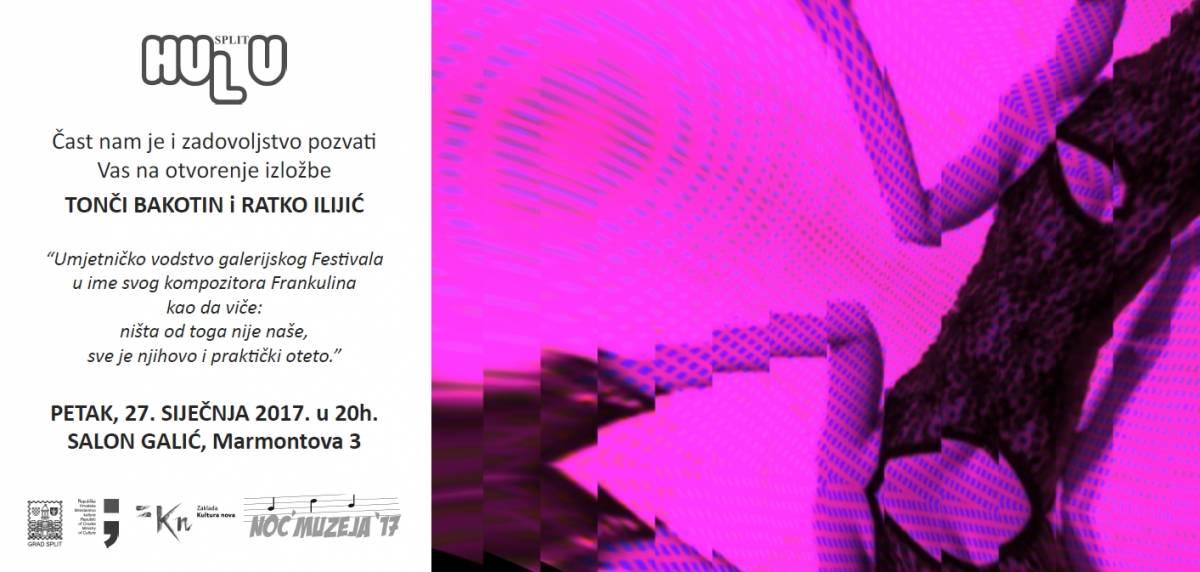 "Noć Muzeja- 20:00h – Tonči Bakotin i Ratko Ilijić ""Festival"" – ŠKORO, ROZGA, PERKOVIĆ, CETINSKI, ŠUPUT, ZEČIĆ, POKOS u Salonu Galić"