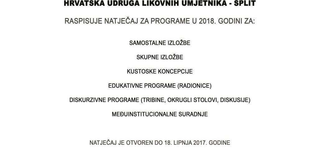 Natječaj HULU Splita  za izlaganje u 2018. godini.
