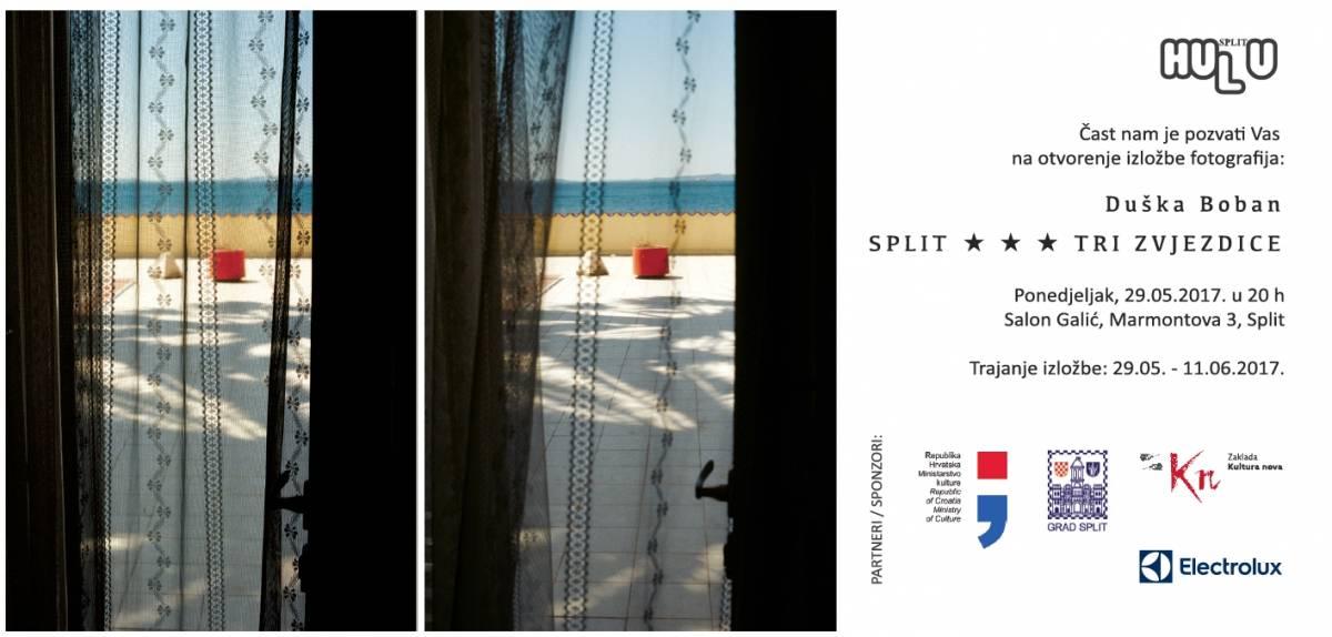 Pozivamo Vas na otvorenje izložbe Duške Boban       '' SPLIT ★ ★ ★ TRI ZVJEZDICE ''      PONEDJELJAK  29.svibnja 20:00h u SALON GALIĆ