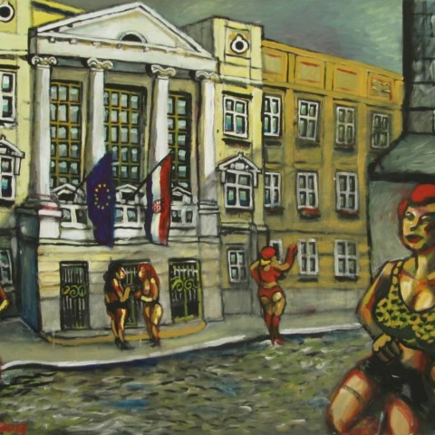 ''Kurve pred saborom'', akril na platnu 2013. ''Whores in front of the Parliament'', acrylic/canvas, 2013