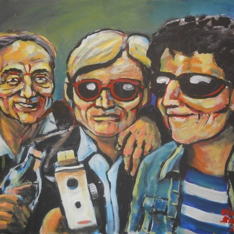 ''Branimir Glavaš, Andy Warhol i Lou Reed u Factory, NY.'', akril na platnu 2013. ''Branimir Glavaš, Andy Warhol and Lou Reed in the Factory, NY.'', acrylic/canvas, 2013