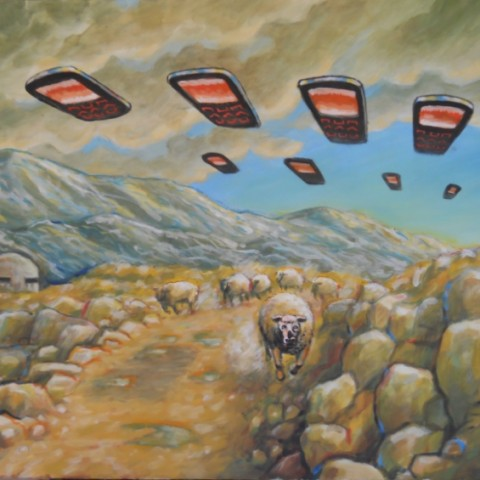 ''Pojava neidentificiranih letećih mobitela u Dalmatinskoj zagori'', akril na platnu 2017. ''The appearance of unidentified flying cellphones in Dalmatinska zagora'', acrylic/canvas, 2017