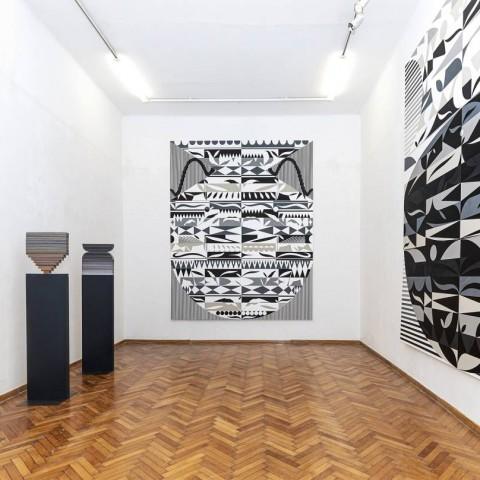 Damir Sobota ''Palindrom 6, 2/3; 2019. kolaž papir na platnu, lak, 100 x 270cm''