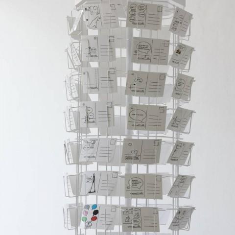 Dino Bićanić- Godišnji umor; 2017. – 2020. 226 razglednica, digitalni crteži u programu Paint, sitotisak; 10 x 15 cm stalak za razglednice; v 180 cm
