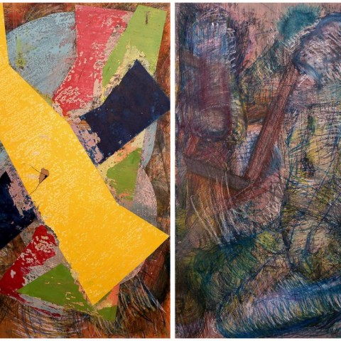 Untitled, 180X280 cm Diptych, Mixed Media on Wood