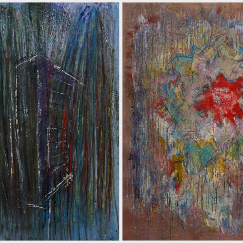 Untitled, 100X140 cm Diptych, Mixed Media on Paper