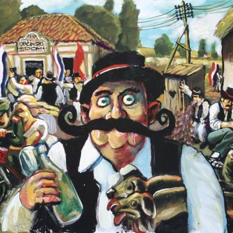 ''Općinski izbori u Suhopolju 1929.'', akril na platnu 2014. ''Municipal elections in Suhopolje 1929.'', acrylic/canvas, 2014