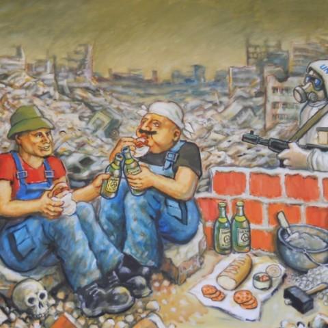 ''Obnova civilizacije nakon nuklearne kataklizme'', akril na platnu 2017. ''Renovation of civilization after a nuclear cataclysm'', acrylic/canvas, 2017