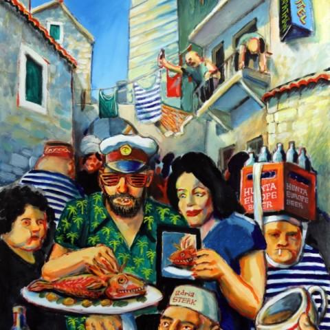 ''Prebukiranost turističkih kapaciteta u Dalmaciji'', akril na platnu 2017. /